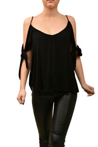 Free-People-Womens-Off-The-Shoulder-Knotted-Top-Relaxed-Black-Size-XS