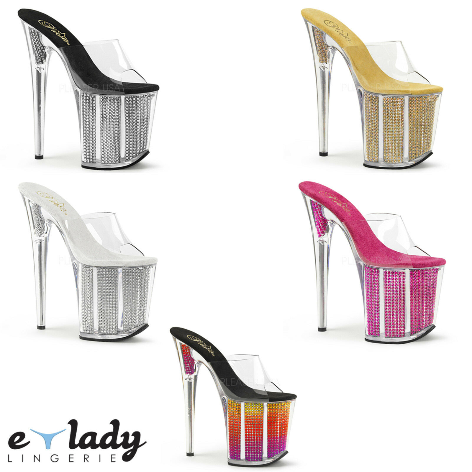 Pleaser Flamingo-801SRS schuhe Platform Sandals Slip On Mules Stiletto High Heels