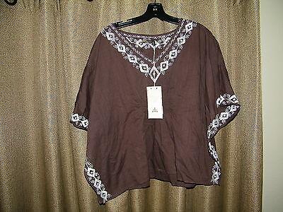 Prana Payton Top Espresso Brown  Sleeve Shirt Yoga Brand NWT MSRP$55 Size M