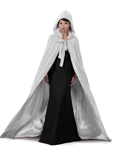 White Black Burgundy Man//Women Full Length Hooded Cloaks Cape Coats Vampire 2018
