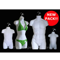 White Female Dress Male Child Toddler - 4 Mannequin Display Body Forms