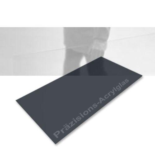 Laser capable Haute précision-en verre Acrylique Transparent Anthracite 495 x 1000 x 1,0 mm