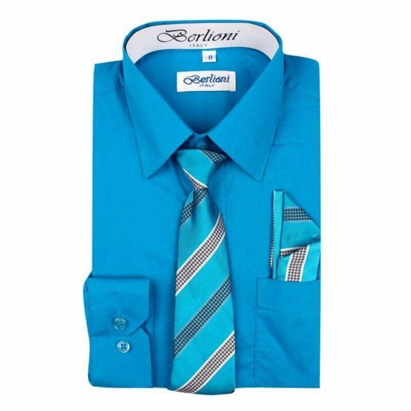 Berlioni Italy Kids Boys Dress Shirt Long Sleeve With Tie & Hanky Turquoise