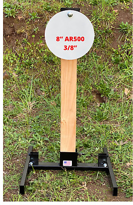 """Details about  /Steel Target Stand 2x4 1x2 Combo with Hanger 8"""" 3//8"""" AR-500 IPSC Kit"""