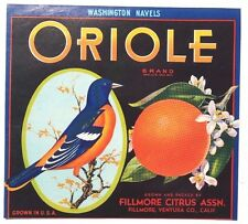Vintage Paper ORIOLE Fruit CRATE Advertising LABEL California U.S.A 9X10