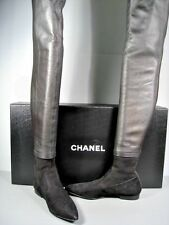 CHANEL BLACK LEATHER SUEDE OVER THE KNEE THIGH HIGH POINTY TOE FLATS BOOTS 37.5
