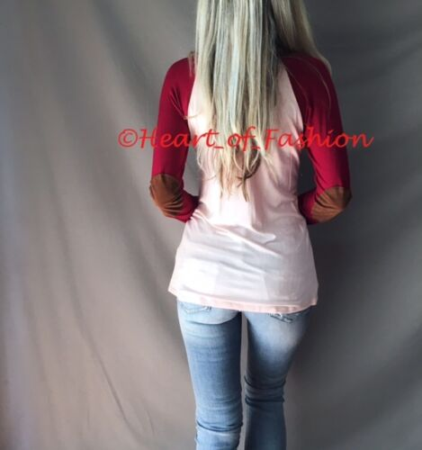 Women/'s Color Block Elbow Patch Long Sleeve Relaxed Knit Raglan Sleeve Top Tee