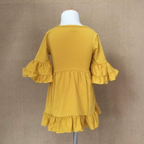 W-550 Boutique Yellow Ruffle Dress Ready to Ship From Ohio Free Shipping