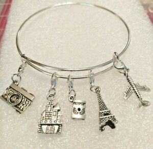 Image Is Loading Travel Plane Tower Camera Pport Castle Silver Bangle