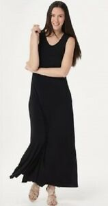 New-ATTITUDES-by-Renee-Size-Small-Solid-Black-Sleeveless-Knit-Maxi-Dress-w-Slits
