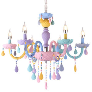 Geniune-K9-Crystal-Chandelier-Ceiling-Light-5-or-6-Arms-Macaron-Multiple-Colours