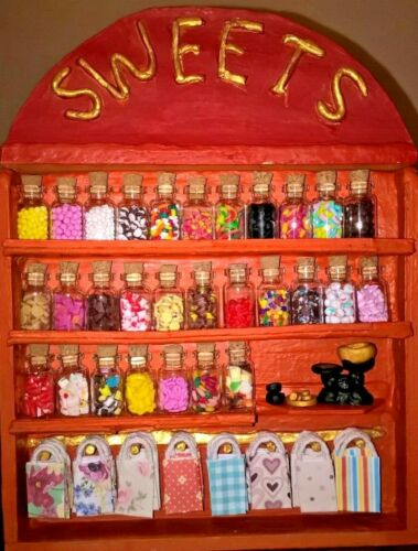 Dolls house sweet shop stand not included 10 x assorted sweet jars 1//12 scale