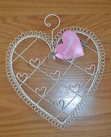 Vintage Cream Wire Hanging Heart Photo Memo Holder Shabby Chic