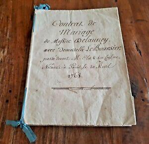 MUSEAL-Paris-20-April-1768-Pergament-EHEVERTRAG-Bastille-Gouverneur-DELAUNEY