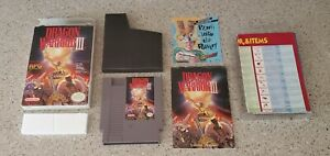 Dragon Warrior III iii 3 Nintendo NES Game lot Box Map Chart Manual Complete CIB