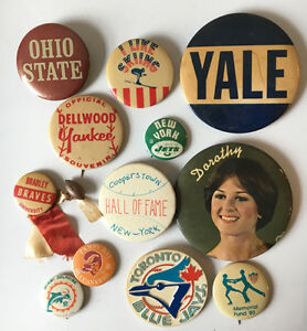 Mixed-Lot-of-Vintage-Sport-amp-College-Buttons-Pinbacks-Yale-Ohio-State-NY-Jets