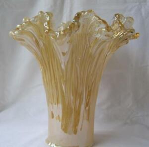 Genuine-Italian-Art-Glass-Vase-IVORY-AMBER-Tammaro-Italy-Murano-No-621