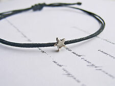 tiny silver star black wax cotton cord string adjustable friendship bracelet
