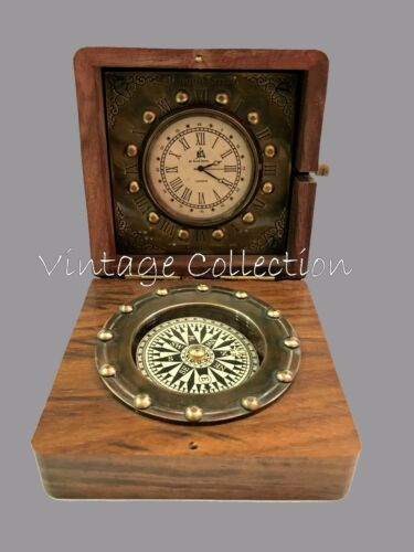 Antique Maritime Brass Compass with Clock in Wooden Box Vintage Nautical Decor