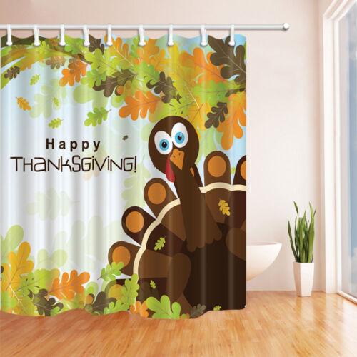 Message de bienvenue avec Thanksgiving Turkey salle de bains Tissu Rideau de douche 180x180cm-71in