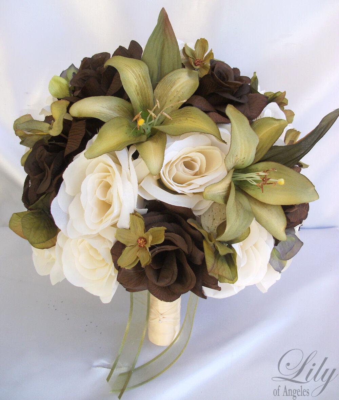 17pcs Robe de Mariage Mariée Bouquet Fleurs Décorations Paquet Vert Sauge Olive