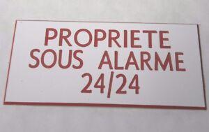 Marque Populaire Plaque Gravée Propriete Sous Alarme 24/24 (2 Versions) Petit Format