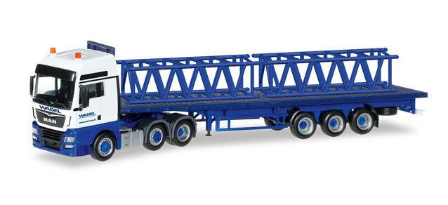 Herpa 306928 h0 camiones MAN TGX XlX escáner plano remolcarse con 2 partes de la torre wasel