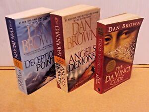 Lot-3-Dan-Brown-PB-Book-Angels-amp-Demons-The-Da-Vinci-Code-Deception-Point