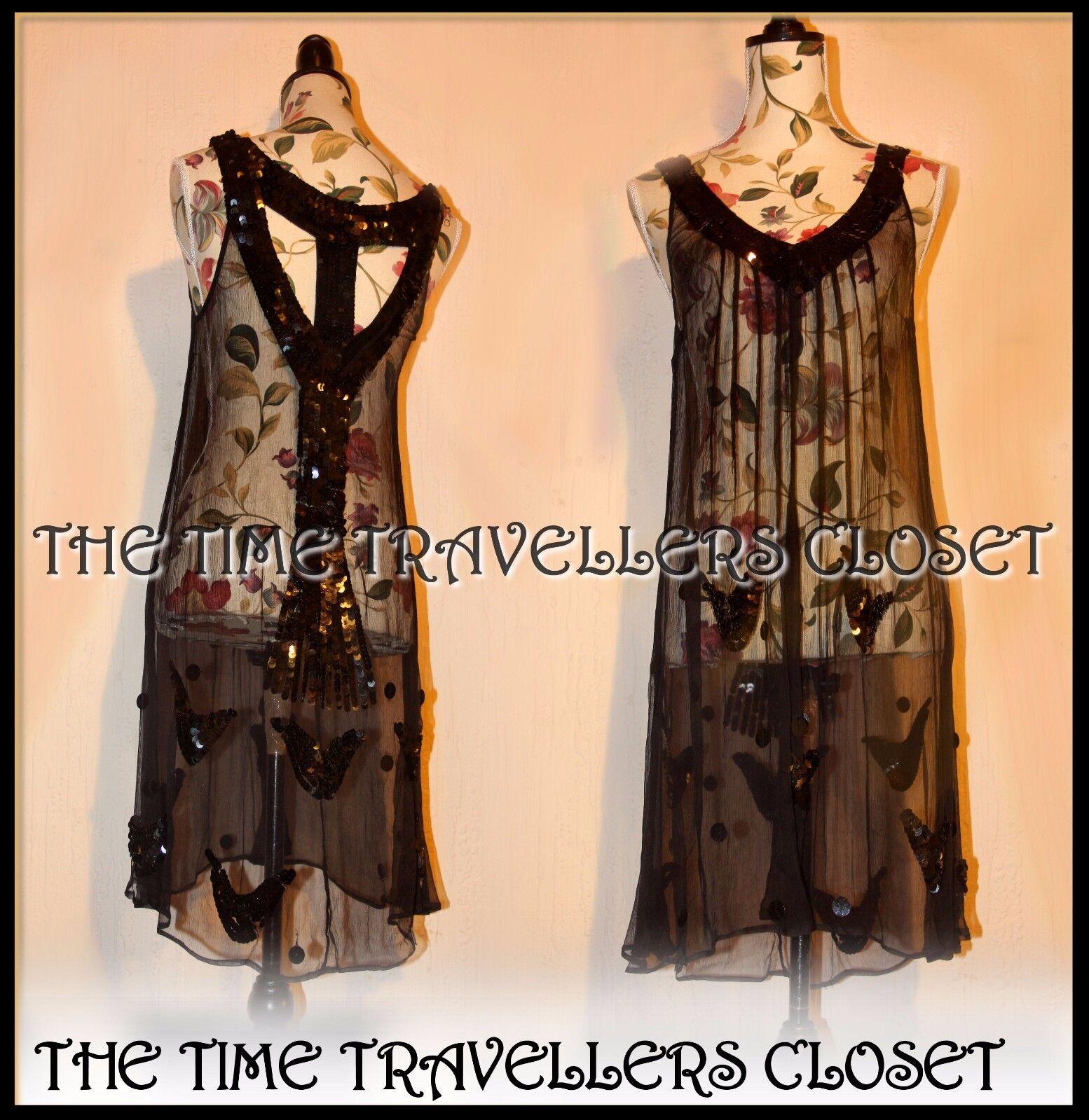 KATE MOSS TOPSHOP schwarz SHEER W    SLIP SEQUIN FLAPPER DRESS VTG ROARING 20s UK 12 64fddb