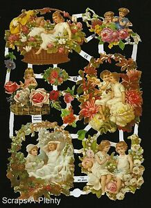 German Victorian Style Embossed Scrap Die Cut- Children Flowers Valentine EF7189