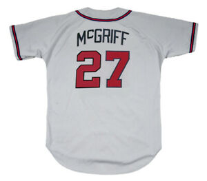 best service 29611 5663d Details about FRED McGRIFF Atlanta Braves 1995 Away Majestic Throwback  Baseball Jersey