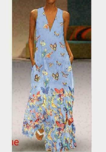 Summer Women Sleeveless V-neck Maxi dress Butterfly Printed Long dress Casual