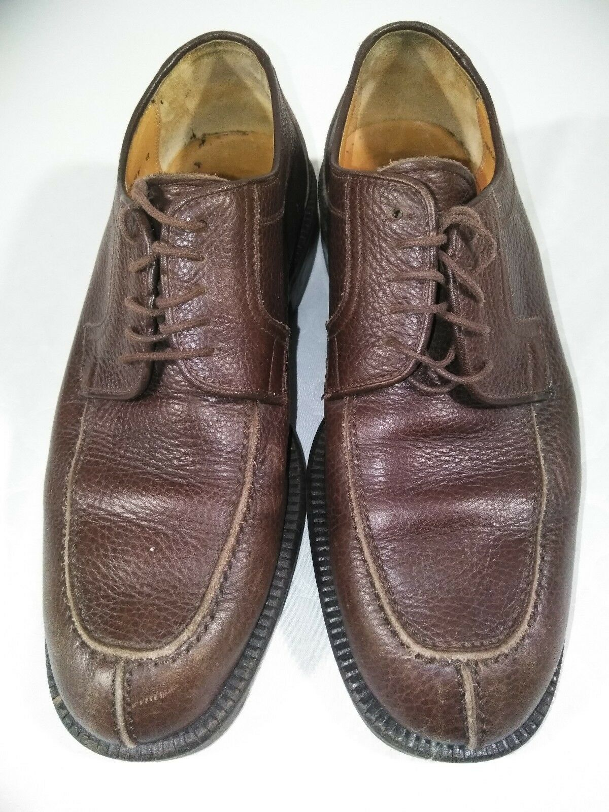 Mens Sandro Moscoloni Size 9 Vineyard Brown Pebble Leather LaceUp Oxfords 91001G