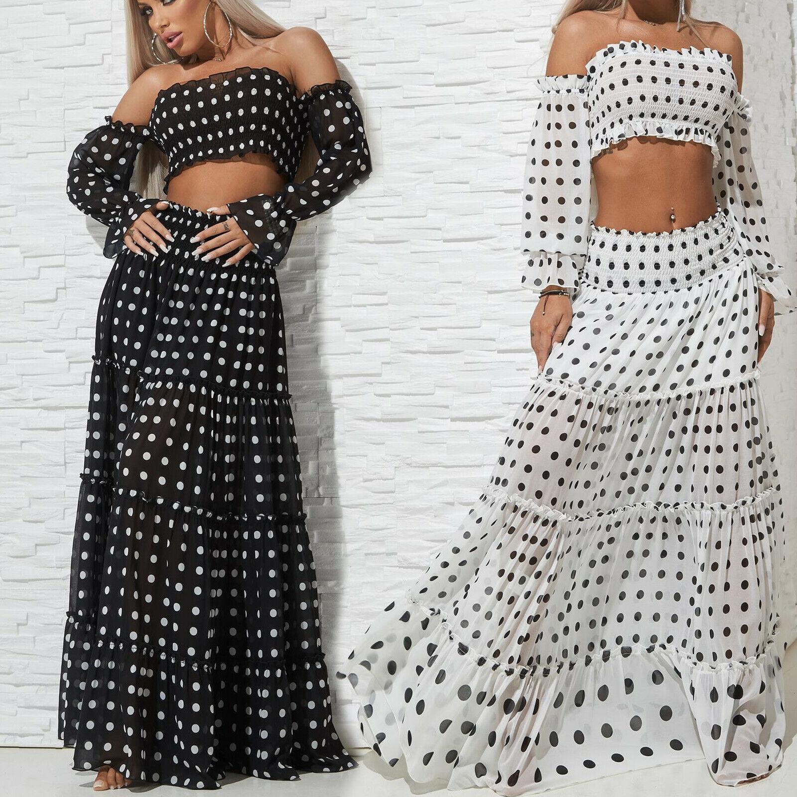 By  Alina Falda de Mujer + Camiseta Top Maxi 2-Teiler Set Negro blancoo 34-38  marca en liquidación de venta