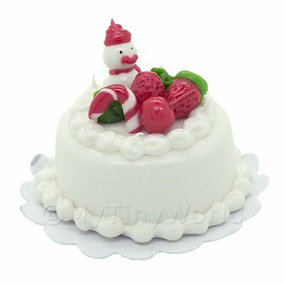 Dolls House Miniature Christmas Cake With Snowman And Candy Cane Complete In Specifications Dolls & Bears