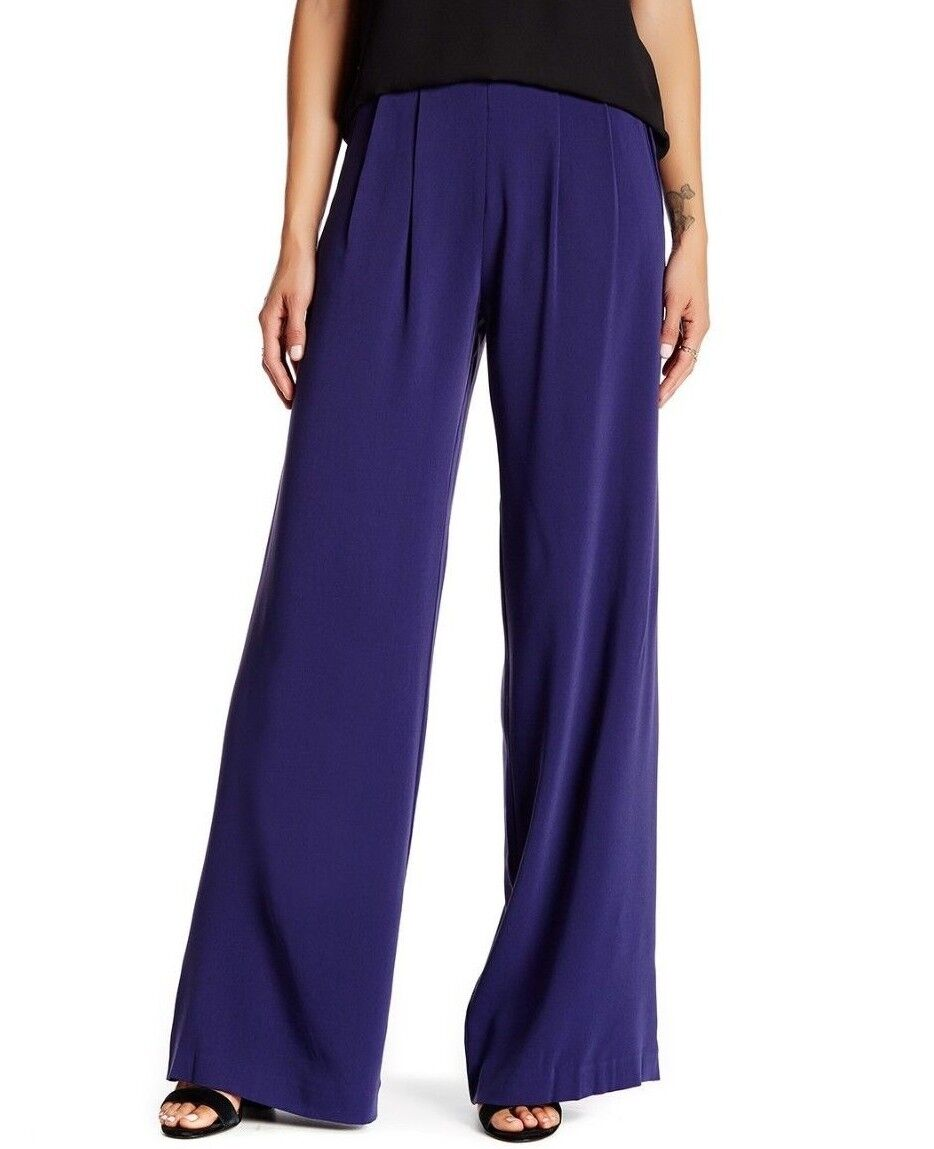 255 NWT PARKER WOMEN Sz6 ELDORA HIGHT RISE SIDE ZIP WIDE LEG PANT IN NAVY