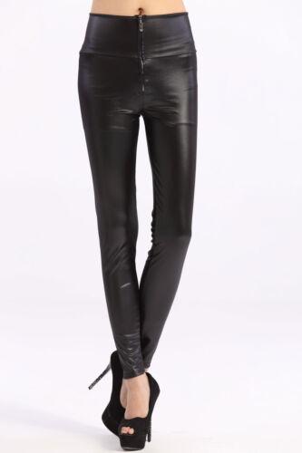 LEGGING VINYL simili cuir Zippé noir TREGGING PANTALON MOULANT SKINNY cuir BAS