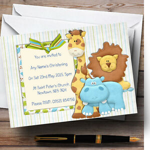 Cute Scrapbook Jungle Christening Party Personalised Invitations