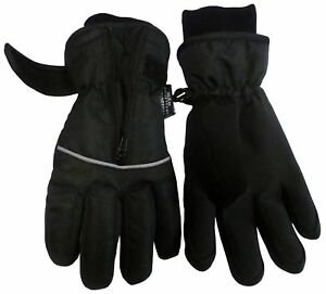 NICE CAPS Kids Boys Girls Thinsulate Waterproof Easy On Zip-Up Winter Ski Gloves