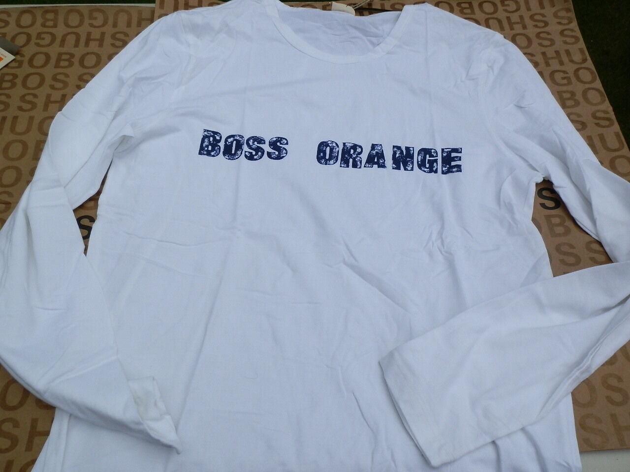 NEW HUGO BOSS MEN WHITE BOSS orange LONG SLEEVE BAG SUIT JEANS T-SHIRT MEDIUM M