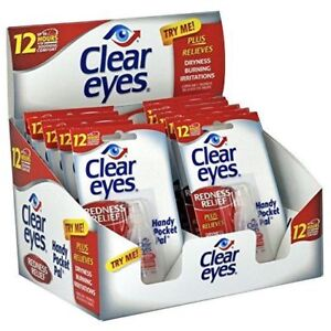 12 PACK OF CLEAR EYES  DROPS REDNESS RELIEF 0.2 OZ.6 ML EXP (2020)UP TO 12 HOURS 300742541282