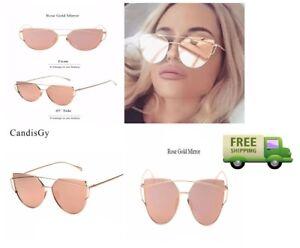 0bb6a7e9df6c Lady Vintage Retro Designer Sunglasses for Woman Cat Eye Uv 400 Rose ...