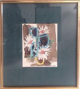 Henri-PLISSON-1908-2002-Bouquet-de-marguerites-1960-Aquarelle-pastel-15x12-SBD