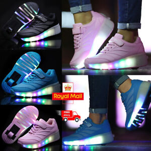 Boys & Girls Shoes Skates LED Heelys Wheels Kids Light Up Roller Skate Trainers