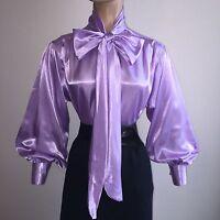 Lavender Shiny Liquid Satin Vtg St Bow Blouse Top High Neck Shirt S M L 1x 2x 3x