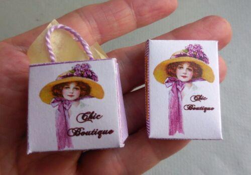 DOLLHOUSE MINIATURE ~  BOUTIQUE DRESS BOX /& SHOP BAG SET  by LORRAINE SCUDERI