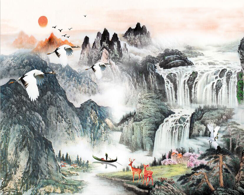 3D Falls mountain painting Wall Paper Print Decal Wall Deco Indoor wall Mural