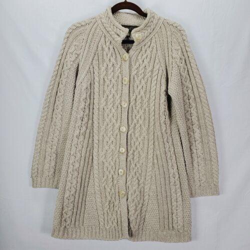 Inis Crafts Merino Wool Long Cardigan Sweater Lar… - image 1