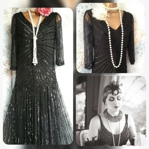 8 Evening Gown Pisarro Nights 36 Dress Black Sequin New Bead 20s Gatsby Deco gYPwzOzq