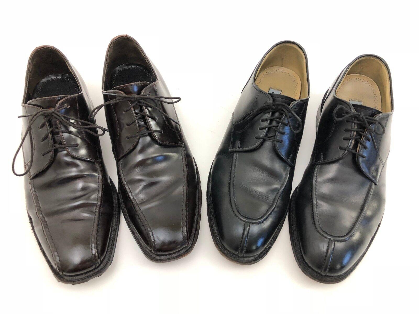 Lot Lot Lot of 2 Johnston Murphy Nero Brown Mahogany Pelle Dress Shoes Uomo Size 9 M 109566